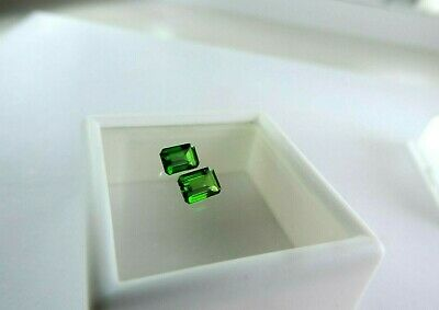 2 pc Emerald Shaped Russian Chrome Diopside 1.15tcw faceted by me SUPERIOR GRADE