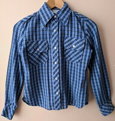 70s Vintage Blue Checked Ladies Shirt Dagger Collar 10 8-10 Western Casual
