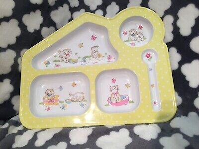 Cath Kidston Baby Child Dinner Tray Plate Bowl Puppies & Kittens Boys Girls