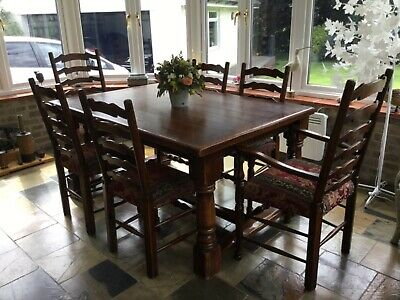 English Oak Jacobean Style Refectory Dining Table and Chairs, 106cm x 158cm