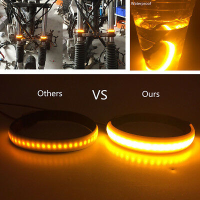 1PC AMBER LED Motorcycle Fork Turn Signal Light Strip For Clean