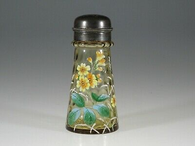 Victorian Glass Amber Baby Coin Dot Sugar Shaker Enameled Flowers c.1890