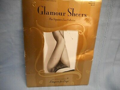 Victoria's Secret Glamour Sheers Lace High Cut Panty Pantyhose Cream Medium