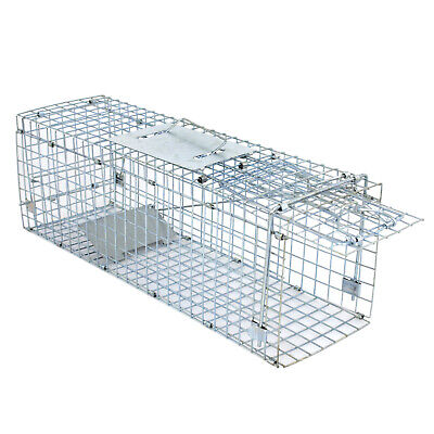 """Professional Humane Animal Trap 32/""""x12.5/""""x12/"""" Large Steel Cage Spring Loaded"""