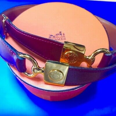 HERMES belt leather / bag wine red color 65 size Used With box F/S BRa387