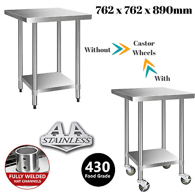 430 Stainless Steel Bench Table Commercial Kitchen Home Food Grade Shelf 762mm