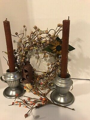 Primitive Decor Lot Pewter Candle Stick Holders Wreath Night Light