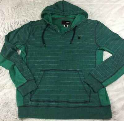 Mens Large Hurley Hoodie Dark/ Light Green Panel Sided Hoodie With Snaps