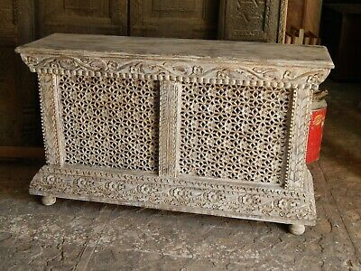 Indian Handmade Antique Finish Wooden Carving Console Table With Lighting