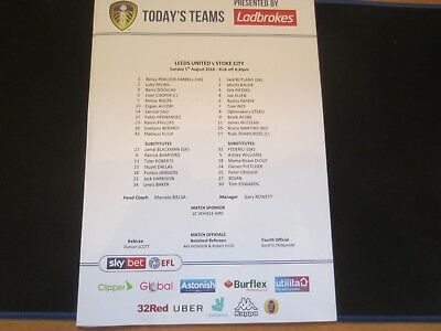 2018/19 CHAMPIONSHIP LEEDS UNITED v STOKE CITY  TEAM SHEET