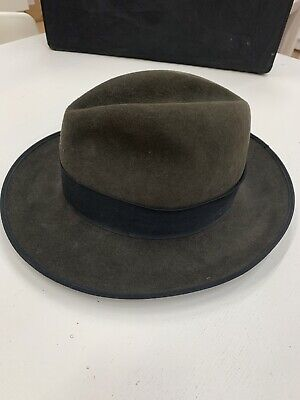 ff29fc65 Vintage Retro Green Khaki Fedora Trilby Hat Christies London Wool Felt Size  55 S