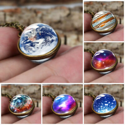 Handmade Glass Ball Solar System Galaxy Moon Space Universe Pendant Necklace Hot