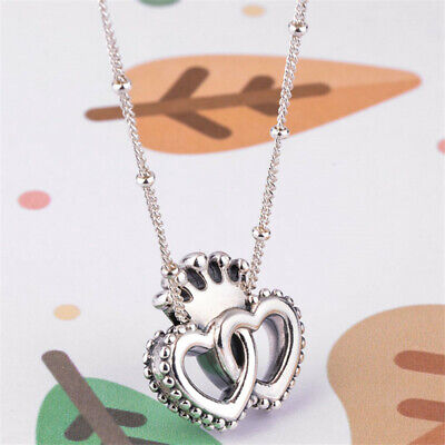 1bb1115a1 Authentic 100% 925 Sterling Silver United Regal Hearts Necklace 45cm/17.7