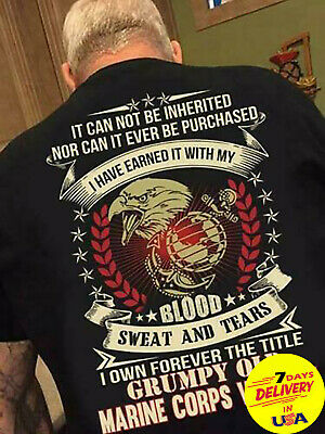 673f921f8 I Own Forever The Title Grumpy Old Marine Corps Veteran Men T-Shirt Black  Cotton