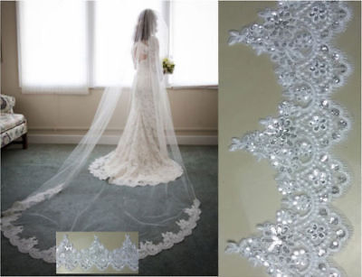 1 Layer Cathedral Length 3M Wedding Veil Lace with Sequins Bridal Veil with Comb