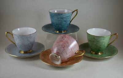 Nine Piece Royal Alberts Gossamer Colours Tea Cups And Saucers