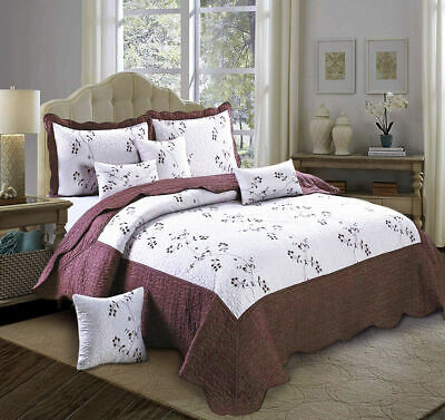 3 Piece Quilted Bedspread Chocolate Toronto King Size Bed Throw With Pillow Sham