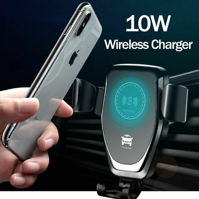 QI Wireless Fast Charger Car Mount Holder Stand For iPhoneX XS Samsung S10 Note9