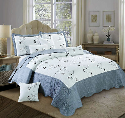 Silver Toronto 3 Piece Quilted Bedspread King Size Bed Throw With Pillow Shams