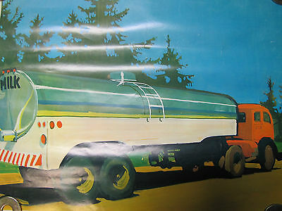 """1968 National DAIRY Council Poster """"Taking Milk Into the City"""" Farm Ad"""