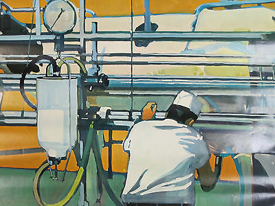 """1968 National DAIRY Council Poster """"Milking Time On the Farm"""" Farm Ad"""