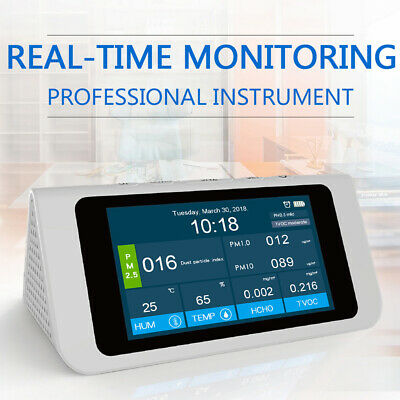 PM2.5/1.0/10 HCHO TVOC AQI Detector Thermometer Hygrometer Air Quality Analyzer