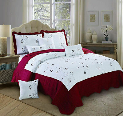 3 Piece Light Weight Quilted Bedspread With Pillow Shams Toronto Burgundy King