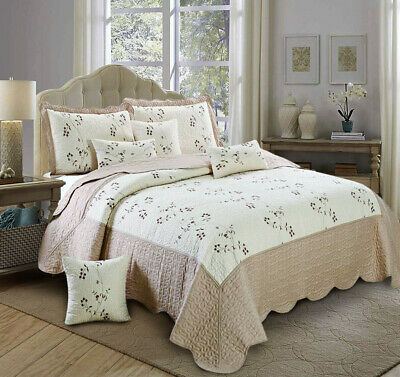 3 Piece Quilted Bedspread; Beige Bed Throw With Pillow Shams King Size Toronto