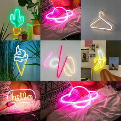 AU USB Neon Light Sign Wall Light Lamp Home Cafe Shop Clubs Bar Pubs Party Decor