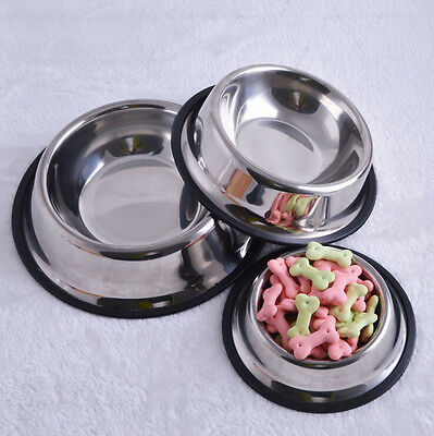 Stainless Steel Dog Cat Puppy Pet Bowl Non Slip Food Water Feeding Dish 4Size XB