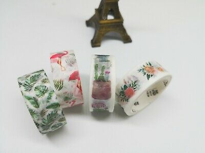 Special! Japan Washi Tape - Cactus Greens Flowers Flamingo  15mm x 2m  MT378