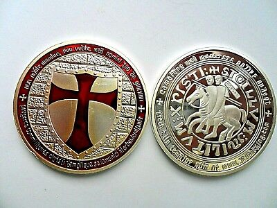 Masonic Knights Templar Shield Silver  Plated Commemorative Coin . Boxed  Red