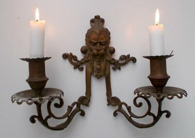 Vintage French Bronze Gothic Grotesque Double Candle Sconce Wall Light