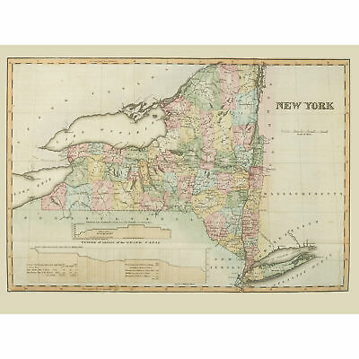 Colden 1825 Map New York State USA Wall Art Canvas Print 18X24 In