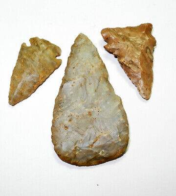 3 PRE-COLUMBIAN PROJECTILE POINTS - Manatee Co, Fl - BURNWORTH 1930 incl. photo