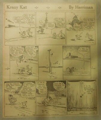 Krazy Kat Sunday by Geo. Herriman from 12/27/192 Tabloid Size Page ~10 x 12 inch