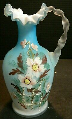 Antique Hand Painted Victorian Bristol White Cased Handled Ruffle Blue Vase Exc