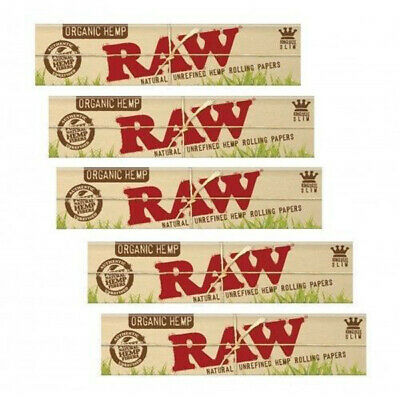 5 x Raw Organic hemp King Size Slim Natural Unrefined Cigarette Rolling Papers