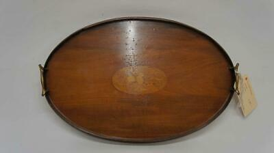 Edwardian oval Mahogany butlers or drinks tray 56 cm x 37 cm