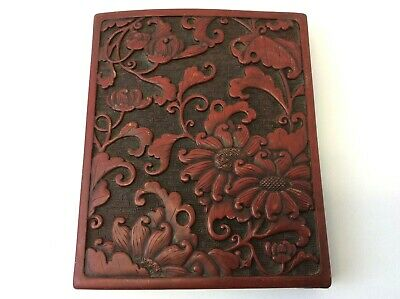Old Red Black Chinese China Oriental Lacquer Trinket Box Lid Top Cover Part