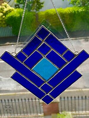 Stained Glass Suncatcher Handmade in Blue &  Turquoise