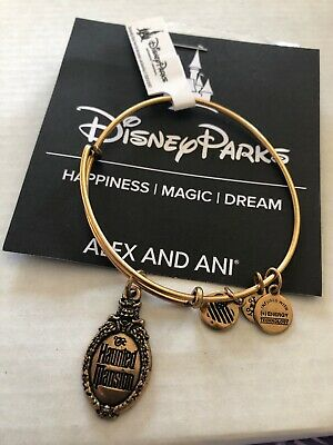Disney Alex and Ani Haunted Mansion Logo Gold Bracelet Bangle BRAND NEW