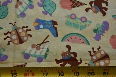 Fabric Traditions//1993 N328 By 1//2 Yd Fishing Theme on Green Quilting Cotton
