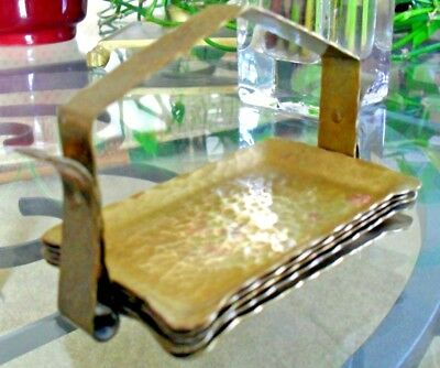 Arts & Crafts*Mission~5 Pc Hammered Brass^copper Ashtray Set & Caddy*Roycroft?