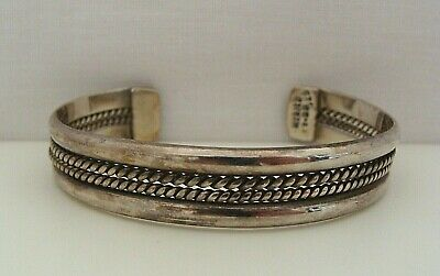 Taxco Mexico Sterling Silver 4 Row Center Twist Cuff Bracelet