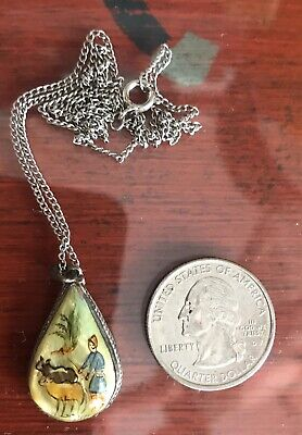 Antique Vtg Hand Painted Persian Iran Pictorial Necklace