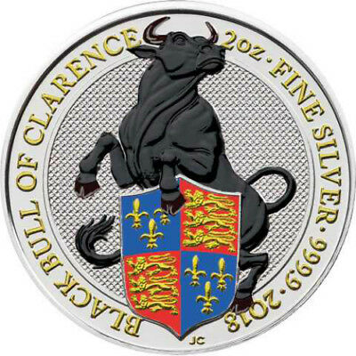 BLACK BULL OF CLARENCE - THE QUEEN'S BEASTS 2018 2 oz Color Silver Bullion Coin