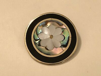 Vintage Alpaca Mexico Mother of Pearl Abalone Shell Inlay Flower Brooch Pendant