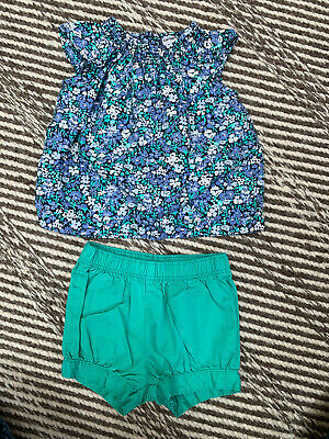 Carters Baby Girl Green Flowers Summer Outfit 2 Pc Set  Size 3 Months