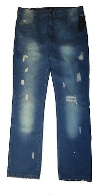 4f4cc045 MARC ECKO NEW Men's Slim Straight Distressed Faded Ripped Jeans ...
